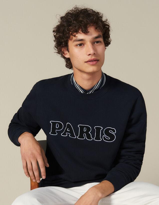 Sweatshirt, Aufschrift  Schlingeneffekt : Sweatshirts farbe Marine