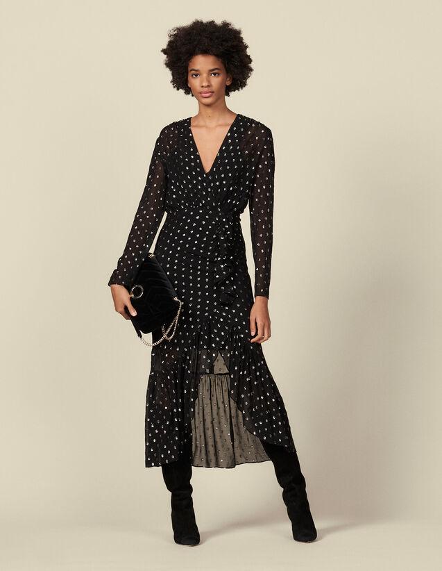 Langes Volantkleid mit Lurex-Punkten : Kleider farbe Schwarz