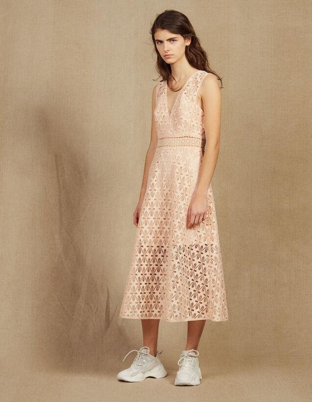 Midi-Kleid Aus Lochstickerei-Spitze : Kleider farbe Rosa