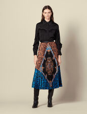 Langer Plissee-Rock mit Print : Röcke & Shorts farbe Bunt