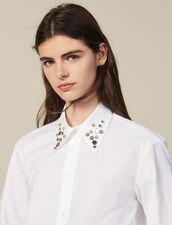 Asymmetrische Hemdbluse mit Nieten : FBlackFriday-FR-FSelection-30 farbe Weiß