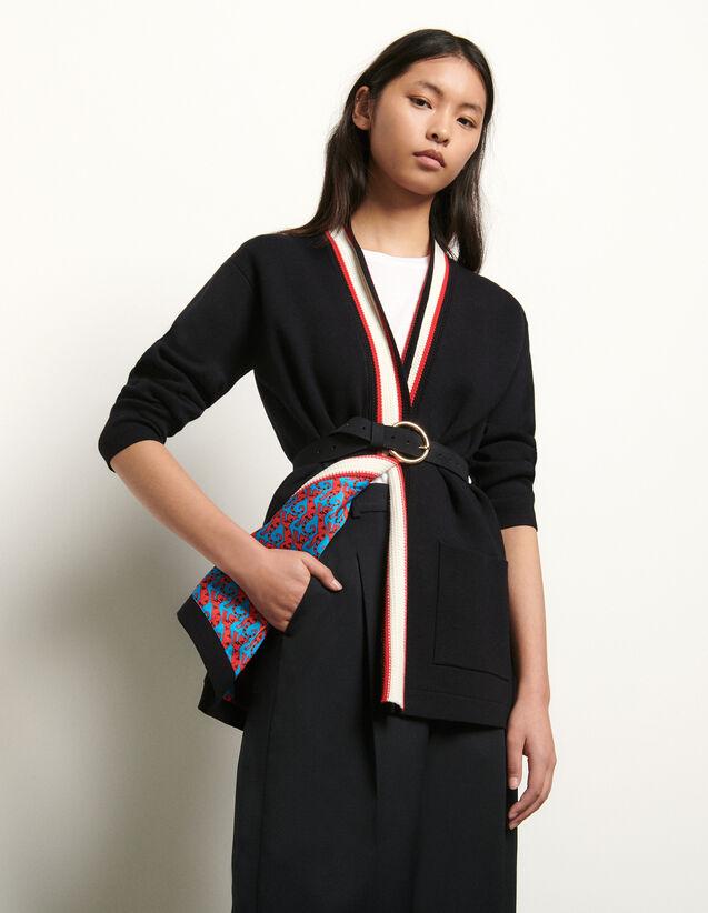 Cardigan mit bedrucktem Innenfutter : Pullover & Cardigans farbe Schwarz