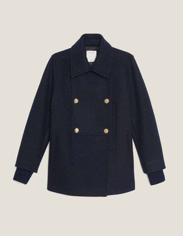Zweireihiger Wollcaban : Mäntel farbe Marine