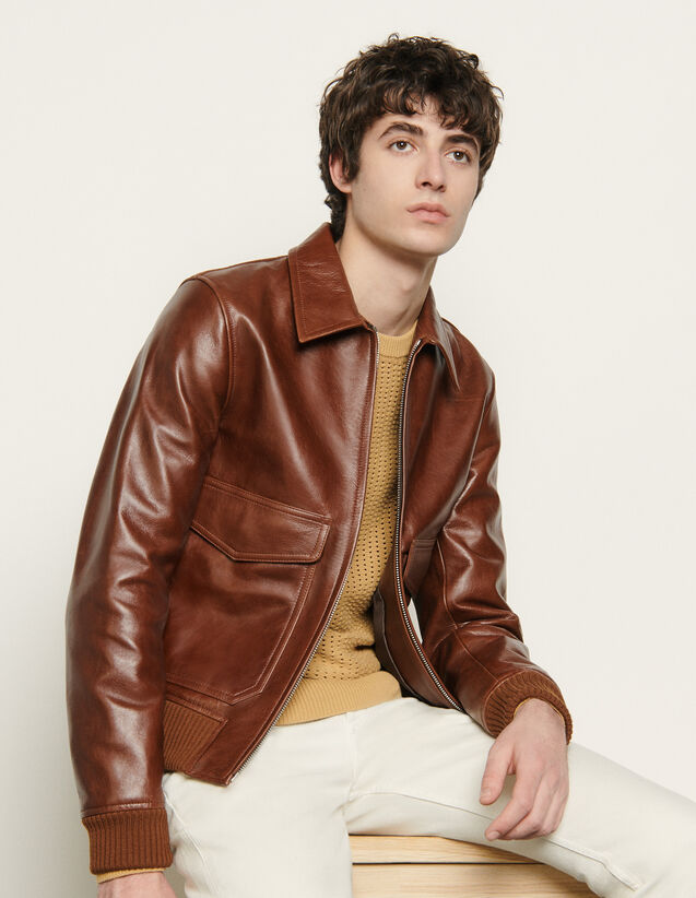 Blouson aus Leder : Blousons & Jacken farbe Marron