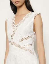 Langes ärmelloses Kleid mit Stickerei : Kleider farbe Weiß