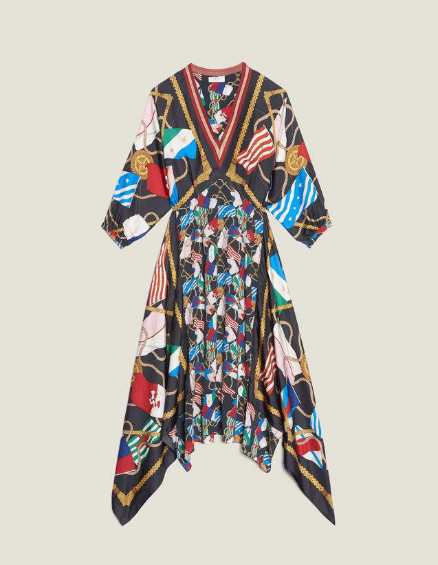 Langes Kleid Mit Print : Kleider farbe Schwarz