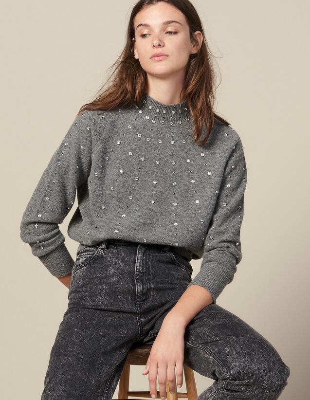 Strickpullover Mit Nietenverzierung : Pullover & Cardigans farbe Grau