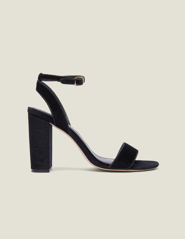 Sandalen Aus Samt Mit Blockabsatz : Sommer Kollektion farbe Schwarz