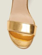 Absatzsandalen Aus Metallisiertem Leder : null farbe Gold