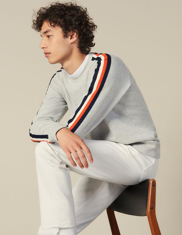 Sweatshirt Mit Streifen An Den Ärmeln : Winterkollektion farbe Grau Meliert