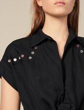 Hemdkleid mit farbiger Nietenverzierung : Kleider farbe Schwarz
