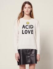 Pullover Mit Kontrast-Schriftzügen : null farbe Ecru