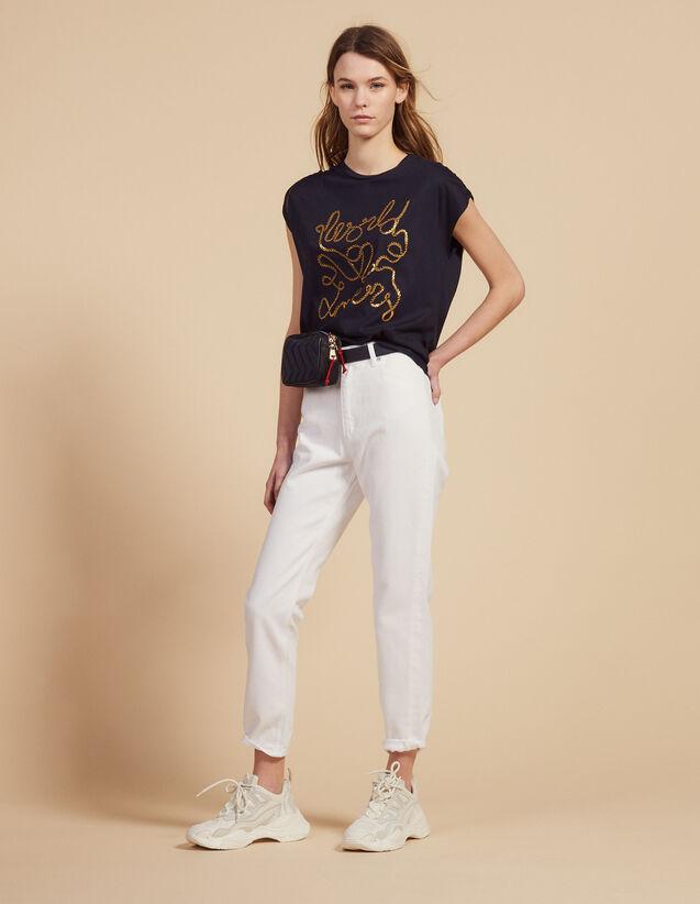 T-Shirt Aus Baumwolle Mit Schriftzug : T-shirts farbe Marine