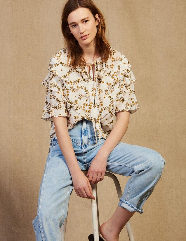 Fließendes Top Mit Print : Bedrucktes Hemd farbe Ecru