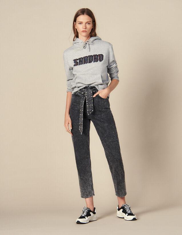 Neige Jeans mit nietenbesetztem Gürtel : Jeans farbe Schwarz