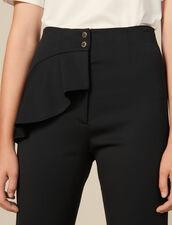 Hose mit Schößchen & ausgestelltem Bein : LastChance-ES-F50 farbe Schwarz