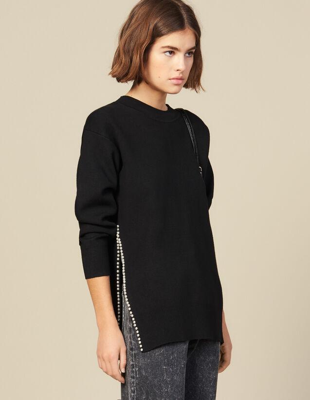 Pullover Mit Perlenbesticktem Schlitz : New In farbe Beige