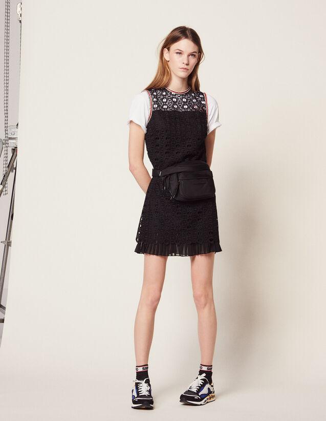 Ärmelloses Kleid Aus Gipürespitze : Kleider farbe Schwarz
