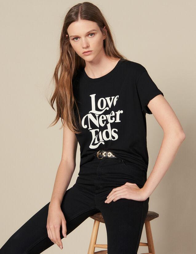 T-Shirt Mit Kontrastierendem Schriftzug : T-shirts farbe Schwarz