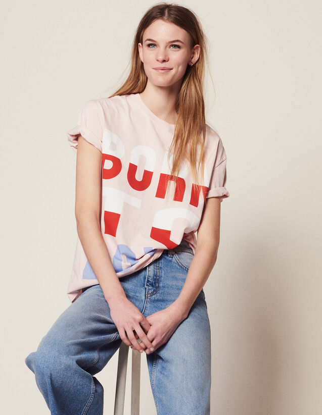 T-Shirt Mit Born To Love-Schriftzug : null farbe Rosa