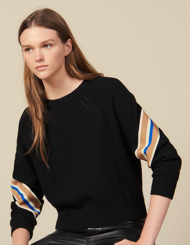 Pullover mit breiter, gestreifter Borte : Pullover & Cardigans farbe Schwarz