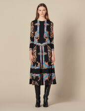 Langes Kleid mit Halstuchprint : LastChance-ES-F40 farbe Schwarz