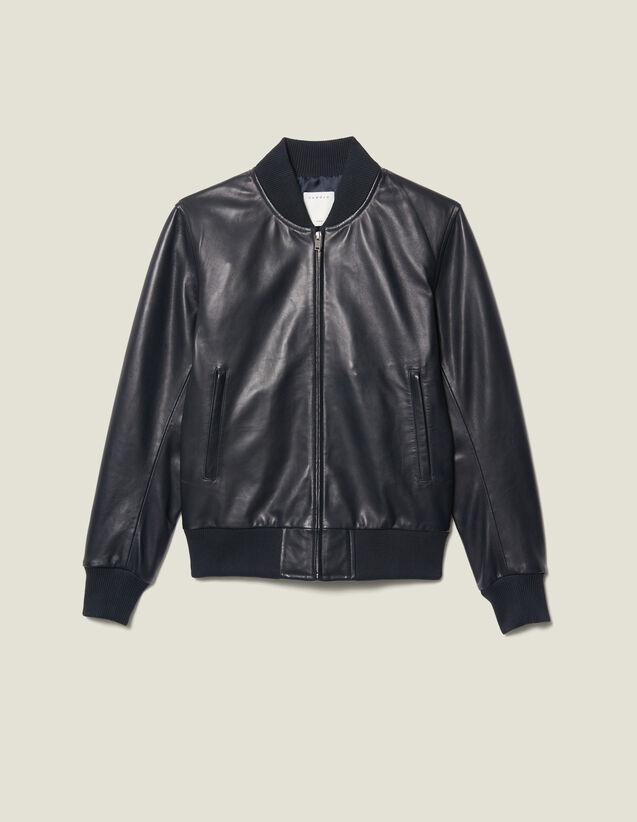 Blouson aus Leder mit Reißverschluss : Blousons & Jacken farbe Marine