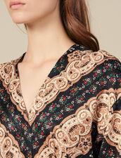 Ausschnitt-Midi-Kleid mit Print : Kleider farbe Schwarz