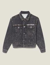 Neige Jeansjacke mit Nietenverzierung : FBlackFriday-FR-FSelection-Blousons&Manteaux farbe Schwarz