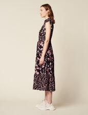 Langes Kleid Mit Print Und Volants : null farbe Schwarz