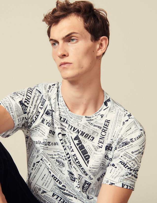 T-Shirt Mit Zeitungsprint : T-Shirts & Polos farbe Weiss/Schwarz