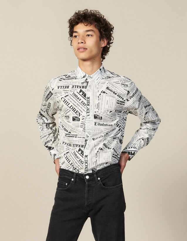 Hemd mit Zeitungsprint : Hemden farbe Weiss/Schwarz