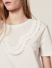 T-Shirt Mit Plissiertem Plastron : null farbe Weiß