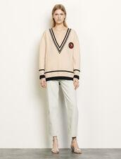 Oversize-Pullover mit Kontrastbündchen : Pullover & Cardigans farbe Beige / Noir